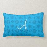 Monogram sky blue christmas stars snowflakes throw pillows