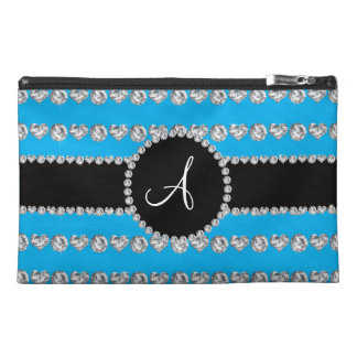 Monogram sky blue diamond hearts stripes travel accessory bags