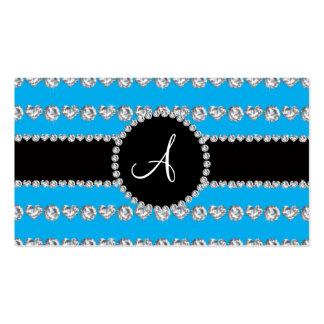 Monogram sky blue diamond hearts stripes business card template