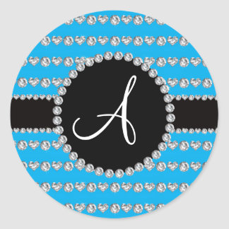 Monogram sky blue diamond hearts stripes round stickers