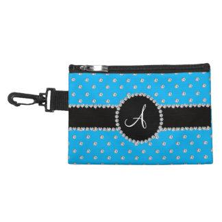 Monogram sky blue diamonds polka dots accessories bag