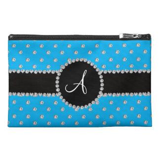 Monogram sky blue diamonds polka dots travel accessory bags