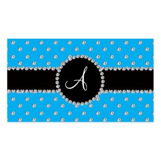 Monogram sky blue diamonds polka dots business card templates