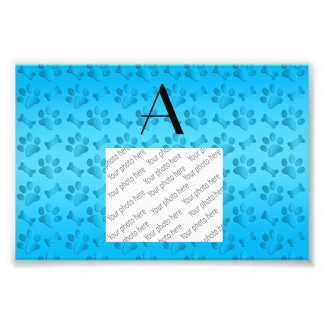 Monogram sky blue dog paw prints photo print