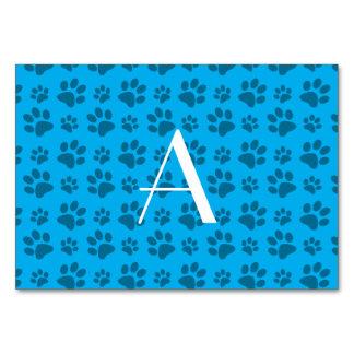 Monogram sky blue dog paw prints table cards