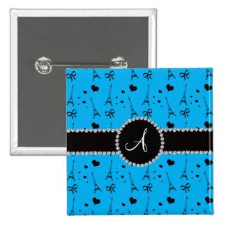 Monogram sky blue eiffel tower pattern 2 inch square button