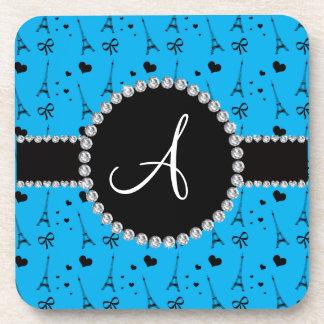 Monogram sky blue eiffel tower pattern coaster