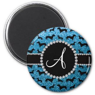 Monogram sky blue glitter dachshund magnet