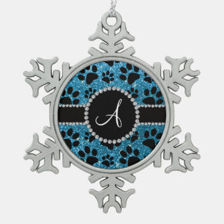 Monogram sky blue glitter dog paws snowflake pewter christmas ornament