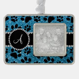 Monogram sky blue glitter dog paws silver plated framed ornament
