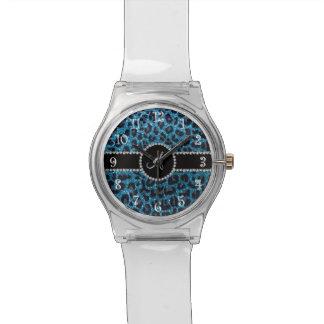 Monogram sky blue glitter leopard wristwatch