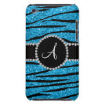 Monogram sky blue glitter zebra stripes circle barely there iPod cover