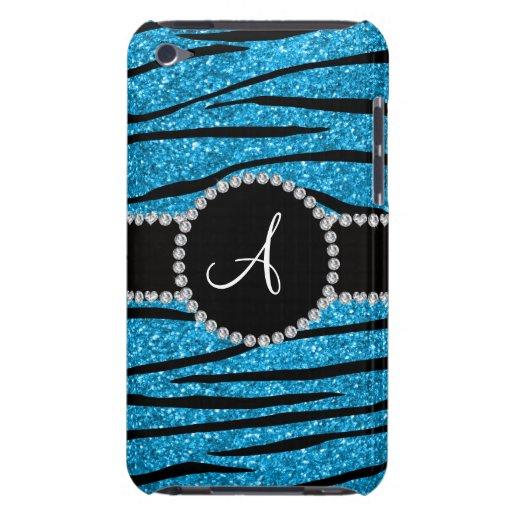 Monogram sky blue glitter zebra stripes circle barely there iPod cover
