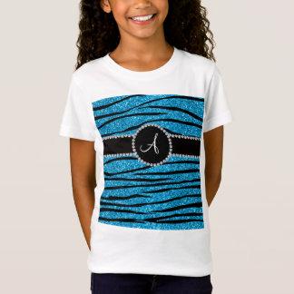 Monogram sky blue glitter zebra stripes circle T-Shirt