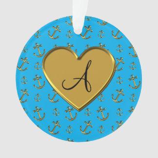 Monogram sky blue gold anchors heart