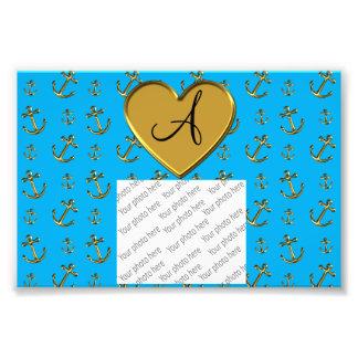 Monogram sky blue gold anchors heart photograph