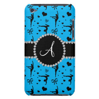 Monogram sky blue gymnastics hearts bows barely there iPod covers