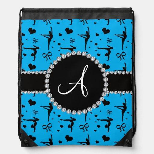 Monogram sky blue gymnastics hearts bows backpack