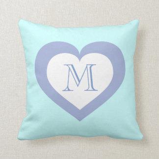 Monogram sky blue heart pattern pillow