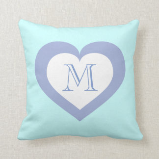 Monogram sky blue heart pattern throw pillow
