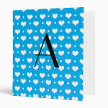 Monogram sky blue hearts polka dots binder