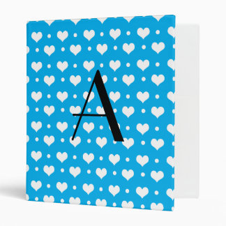 Monogram sky blue hearts polka dots binders