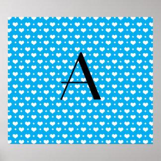Monogram sky blue hearts polka dots print