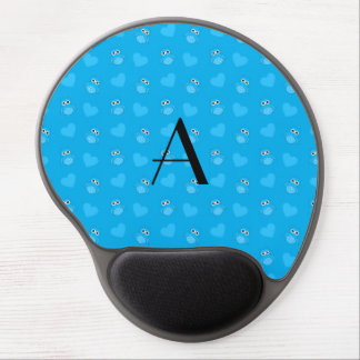 Monogram sky blue owls and hearts gel mouse mat