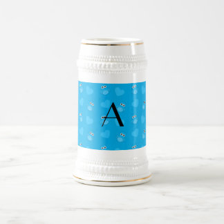 Monogram sky blue owls and hearts coffee mugs