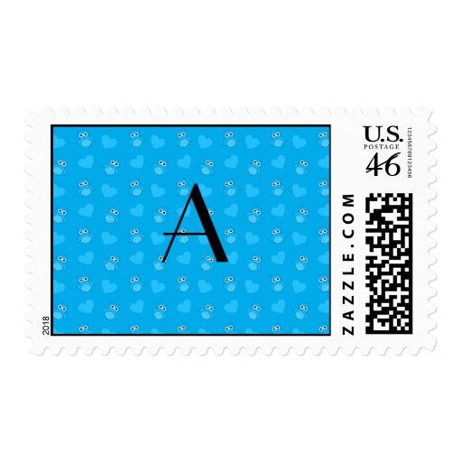 Monogram sky blue owls and hearts stamp