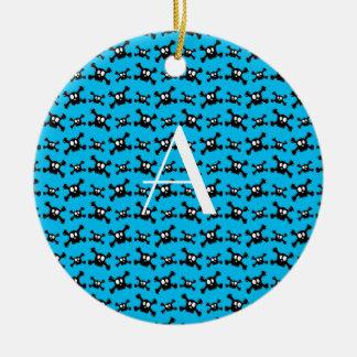 Monogram sky blue skulls pattern christmas ornaments