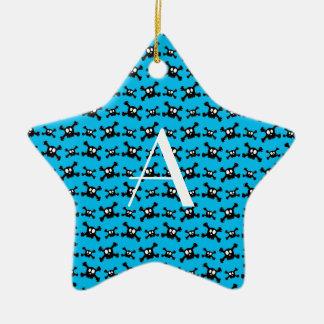 Monogram sky blue skulls pattern christmas tree ornaments