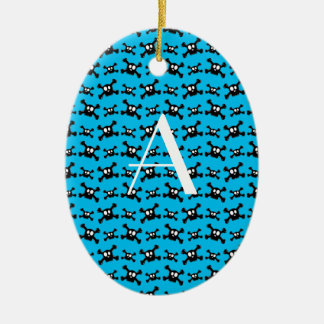 Monogram sky blue skulls pattern christmas tree ornament