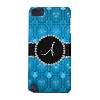 Monogram sky blue snowman trellis pattern iPod touch (5th generation) cases