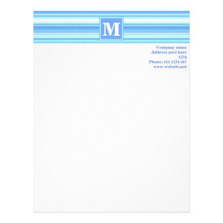 Monogram sky blue stripes letterhead