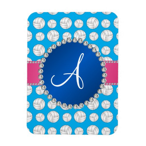 Monogram sky blue volleyballs blue circle flexible magnet