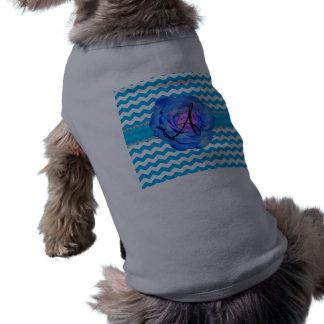 Monogram sky blue white chevrons blue rose doggie t-shirt