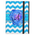 Monogram sky blue white chevrons blue rose iPad air cover