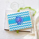 Monogram sky blue white chevrons blue rose jumbo cookie