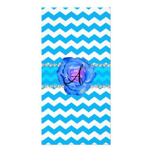 Monogram sky blue white chevrons blue rose photo greeting card