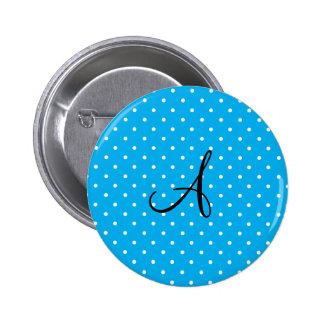 Monogram sky blue white polka dots pins