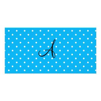 Monogram sky blue white polka dots photo card