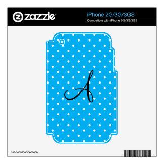 Monogram sky blue white polka dots skin for iPhone 3GS