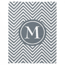 Monogram Slate & White Zigzag-Fleece Blanket #1