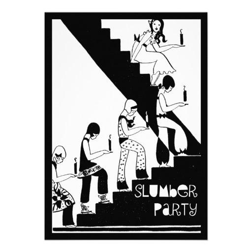 Monogram Slumber Party Vintage Art Deco Personalized Invitations
