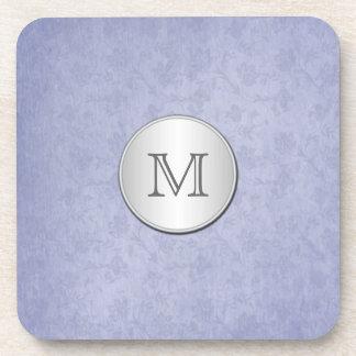 Monogram Smoky Blue Silver Damask Coaster Set (6)