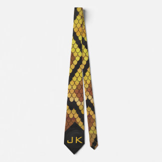 Monogram Snake Brown and Gold Print Neck Tie