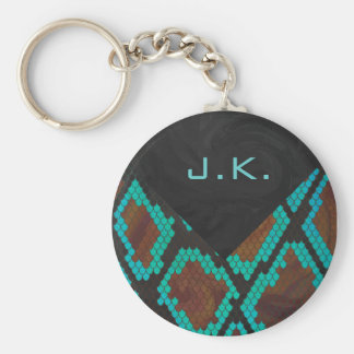 Monogram Snake Brown and Teal Print Basic Round Button Keychain