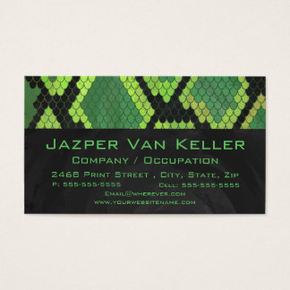 Monogram Snake Green and Black Business Card