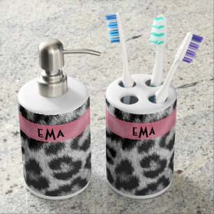 Monogram Snow Leopard Bathroom Set